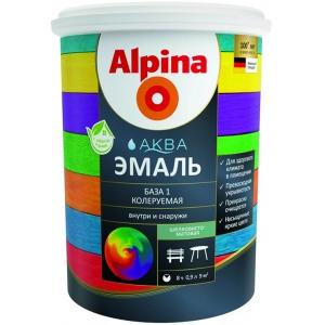 Эмаль акриловая Alpina Аква эмаль, шелковисто-матовая, База 1, 2,5л
