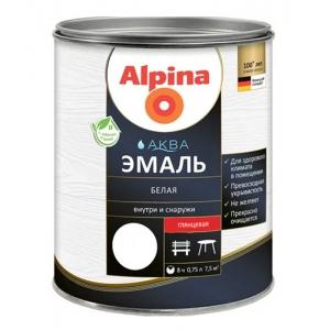 Эмаль акриловая Alpina Аква эмаль, глянцевая, белая, 2,5л