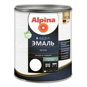 Эмаль акриловая Alpina Аква эмаль, шелковисто-матовая, белая, 2,5л