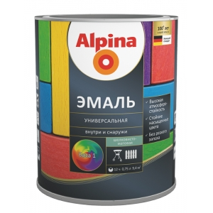 Эмаль алкидная универсальная Alpina, шелковисто-матовая, черная, 0,75л