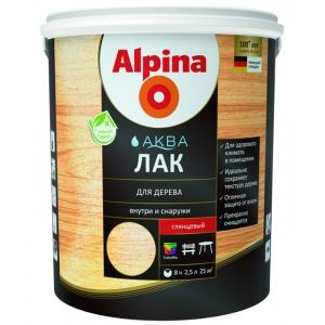 Лак алкидно-уретановый Alpina Аква Лак, глянцевый бесцветный, 2,5л