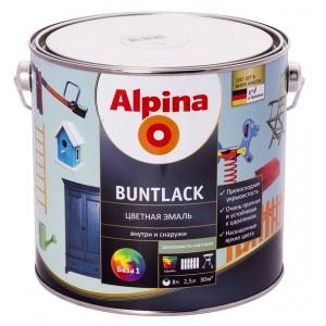 Эмаль Alpina Buntlack цветная, шелковисто-матовая, База 1, 2,5л