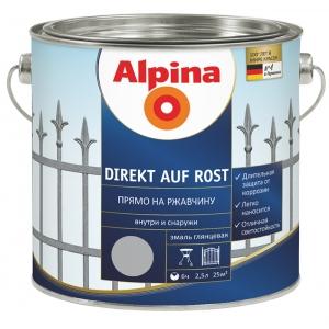 Эмаль алкидная Alpina Direkt auf Rost, RAL6005 Зеленый, 2,5л