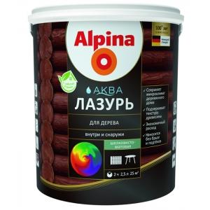 Лак для дерева акриловый Alpina Аква Лазурь, глянцевый, 2,5л