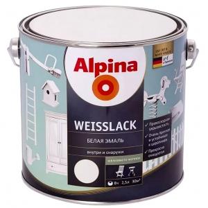 Эмаль Alpina Buntlack белая, шелковисто-матовая, 2,5л