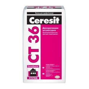 Декоративная полимерминеральная штукатурка Ceresit CT 36 белая, 25кг