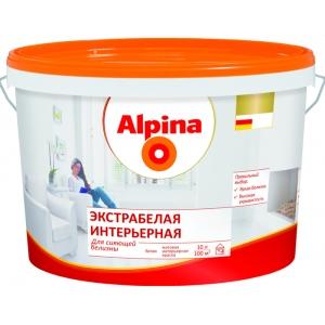 Краска дисперсионная Alpina Экстрабелая интерьерная, белая, 10л
