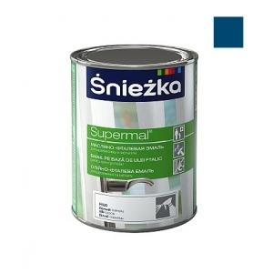 Масляно-фталевая эмаль Sniezka Supermal глянцевая синяя темная, 0,8л